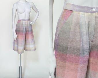 Vintage Gaucho Pants --- 1970s Pastel Plaid Culottes