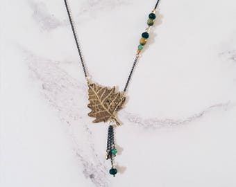 Silver birch leaf necklace, brass and green gemstones, Leaf-Life collection, nature leaves jewelry