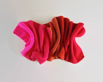 Red Orange Magenta Color Block Scarf Shawl, Cute Hand Knit Wrap Wool Long Statement Scarf, One of a Kind, Womens Scarves, Mens Scarf, branda