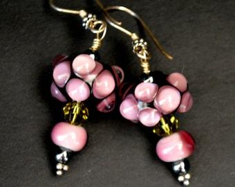 Purple Bliss Lampwork glass and Swarovski crystal earrings