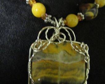 Beautiful Bumble Bee Jasper, Wire Wrap Pendant Necklace
