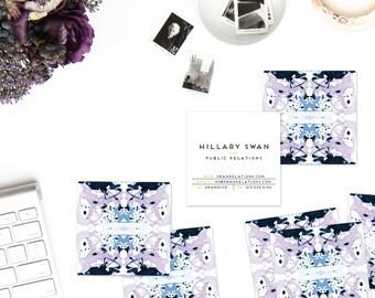 Lavender Periwinkle Indigo Tiled Marble Calling Cards   Business Cards   Blogger Cards   Set (50)