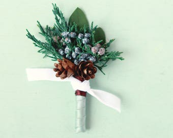 Winter wedding boutonniere, Blue ribbon, Dried greenery bout, Juniper buttonhole, groomsmen eucalyptus button hole, Woodland boutonniere