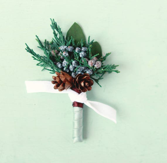 Winter wedding boutonniere, Blue ribbon, Dried greenery bout, Juniper buttonhole, groomsmen eucalyptus button hole, Woodland boutonniere