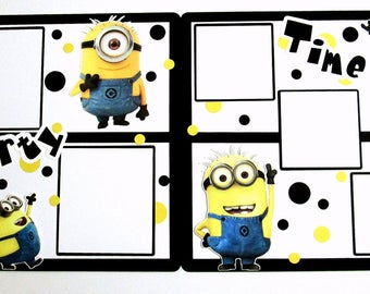 DISNEY Minions Scrapbook Page  |  Minions Premade 12x12 Layout  |  Minions Birthday - Party Pages  |  Disney Album Page...Ready-to-Shipp
