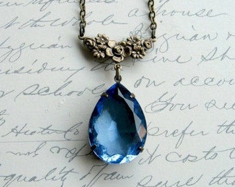 Blue crystal pendant, vintage inspired, faceted jewel necklace, brass chain