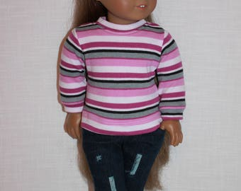 18 inch doll clothes, pink and grey stripe doll top,  dark wash ripped jeans for 18 inch doll, 18 inch doll shirt