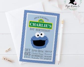 DIY Cookie Monster 1st Birthday Invitation, Cookie Monster Invitation, Cookie Monster Party, Cookie Monster printable invitation, Sesame Str
