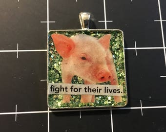 """Piglet Pendant, """"Fight for Their Lives"""" Speak for the Animals Jewelry, 50% goes to the current focus charity"""