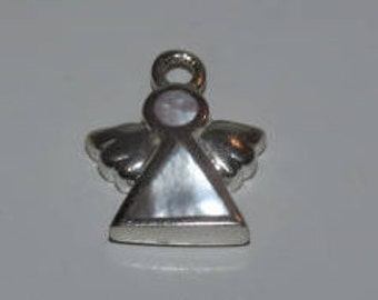 Vintage Sterling 925 Angel Charm, Mother of Pearl inlay, Christmas Angel Charm, Guardian Angel, Charm Bracelet Charm