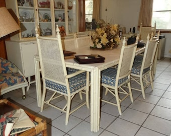 Vintage Wicker & Rattan Dining Table, 11 Chairs, Beach Furniture, Cottage Table and Chairs, Bohemian Decor- Boho Deco- Bohemian Dining Room