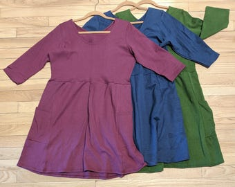 Hemp & Organic Cotton Pocket Dress with 3/4 Sleeves - Handmade - Size Medium/Large - 3 Colors to Choose From - Ready to Ship