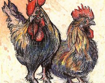 "Print: ""Strut Your Stuff"" Rooster Barnyard Drawing, Print of Original Mixed Media Drawing"
