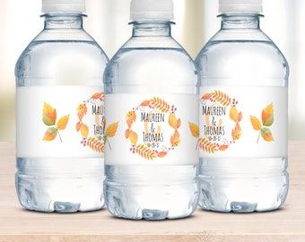 Water Bottle Label, Wedding Welcome Bag, Wedding Favor, Bridal Shower Labels, Autumn Wedding, Waterproof Labels, Personalized Wedding Label