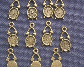 10 Little Alarm Clock Charms Bronze Tone Metal 20mm