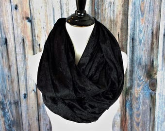 Velvet Infinity Scarf- Clothing Gift-Black Womens Scarf- Black Scarf - Velvet Scarf- Gift For Her - Wife Christmas Gift - Gifts for Wife