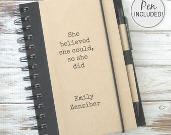 Gift Journal Inspirational Gift Writing Notebook Personalized Gift for Her High School Graduation Gift Women Personalized FREE SHIPPING SB1