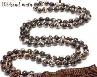 Black Mother of Pearl Necklace, Hand Knotted, 108 Bead Mala