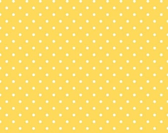 ON SALE Riley Blake Basic White Swiss Dots on Yellow