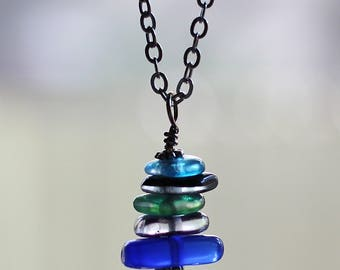 Vintage Glass Stack Necklace, Tumbled Antique Glass Pendant, Recycled Blue, Green Wire Wrapped Necklace Jewelry by Hendywood