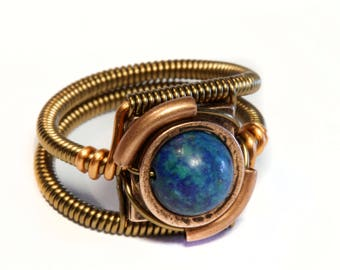 Chrysocolla ring, Steampunk Jewelry - Ring - Chrysocolla