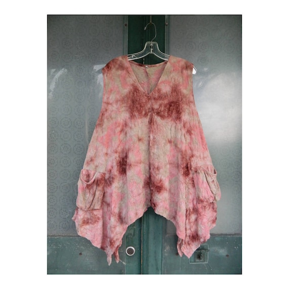 Dress to Kill Pullover V-Neck Tunic -OS- Pink Tie-Dye Scrunchy Polyester