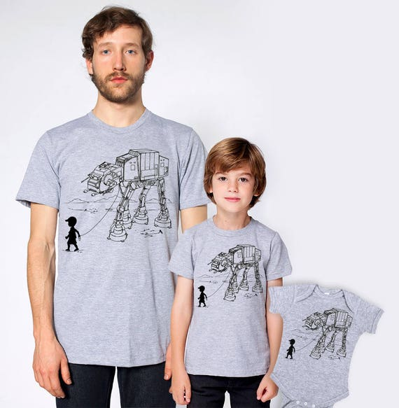 Father's day gift, AT AT walker star wars father sons matching shirts, daddy and sons, dad matching set, gift for husband, family shirt set