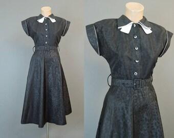 Vintage 1950s Black Taffeta Dress, fits 33 inch bust, Moire Taffeta, A-line skirt