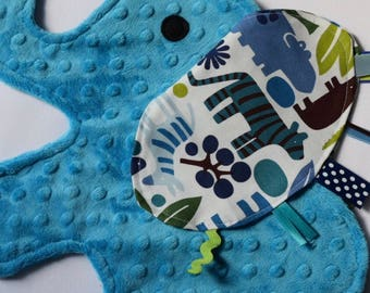 Zoo Day Turquoise Blue Elephant Shaped Sensory Blanket