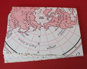 Recycled Map Envelopes / Around the World Red White and Black / Atlas Map Envelopes / set of 10, 4.5 x 6 by PrairiePeasant