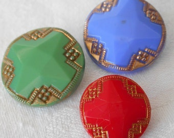 Lot of 4 VINTAGE Art Deco Glass BUTTONS