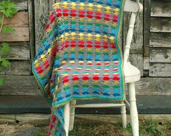 Crochet Blanket Pattern - modern crochet - rainbow crochet - baby blanket - crochet throw