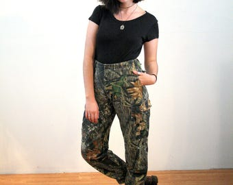 90s Camo Pants L, Woodland Camouflage Pants, Vintage Hunting Pants, Forest Print Cargo Pants, Heavy Cotton Streetwear Grunge, 31-34 Waist