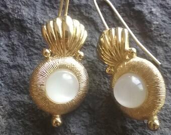 Vintage Monet Earrings, Monet Earrings, Vintage Earrings, Gold Tone Monet Earrings, Earrings, Pierced Earrings