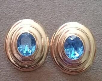 Vintage Earrings, Vintage Earrings Royal Blue Oval Earrings, Gold Tone and Blue Crystal Earrings