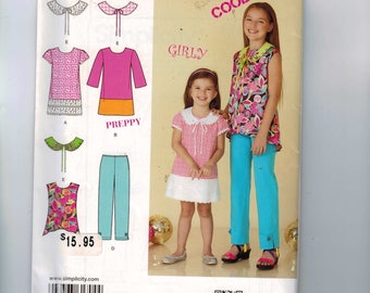 Kids Sewing Pattern Simplicity 1704 Suede Says Project Runway Girls Dress Removable Collar Hi Lo Top Tunic Pants Size 7 8 10 12 14 UNCUT