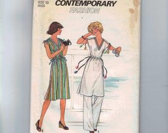 1970s Vintage Sewing Pattern Simplicity 7967 Misses Easy Jiffy Pants Boho Dress Tunic Bias Tape Trim Size 10 Bust 32 1/2 1977 UNCUT