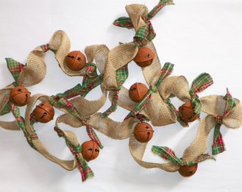 """Burlap Garland with Rusty 2 1/2"""" Bells and Tied Homespun, 12 Ft Long with 9 Bells Hand Made Garland for Your Christmas Tree, Banister Mantel"""
