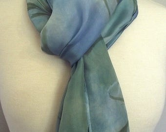 Hand Dyed and Painted Shibori Silk Scarf, Soft Blue and Green background with Hand Painted Pine Leaf Pattern , 14x72""