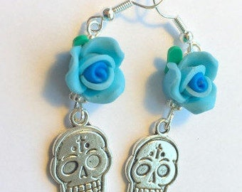 Sugar Skull Earrings Day of the Dead Bkue Roses Silver