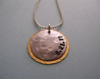 Solar Eclipse Necklace 2017 Handstamped Hand-hammered  8-21-17 Sun Moon Celestial Pendant