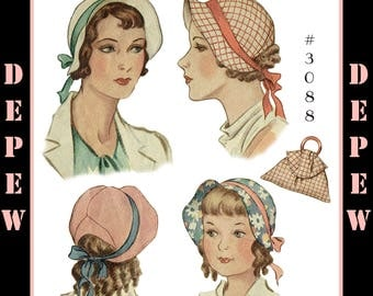 Vintage Sewing Pattern 1930s Mother Daughter Hat & Bag PDF #3088 -INSTANT DOWNLOAD-