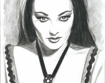 Lily Munster 5x7 Original Sketch Watercolor Pencils Yvonne DeCarlo Munsters