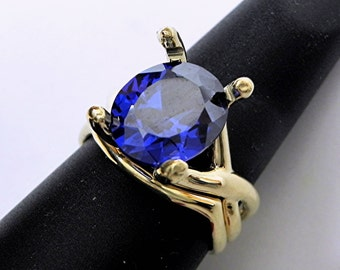 AAAA Blue Sapphire  12x10mm 8.36 Carats Man Made in  14K Yellow gold Bridal set - ELKE- ring 1314