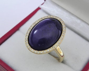 AAAA Sugilite 18 x 13mm  8.49 Carats   14K Yellow gold Diamond halo cabochon ring. 1508