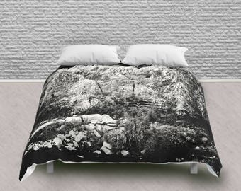 Queen Comforter with Black and White Weeping Willow Tree on Riverbank Print
