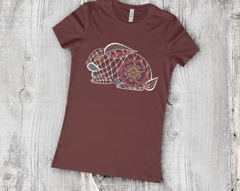 Graphic Henna Bunny T-Shirt, Women's Bella and Canvas Favourite Tee Mehndi Style Rabbit Coloured Line Drawing, Easter Clothing Gift