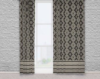 Tribal Diamond Tile and Weave Stripe Pattern Fabric Window Curtains, Taupe and Black Home Decor