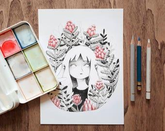 Flores rojas A5 Print
