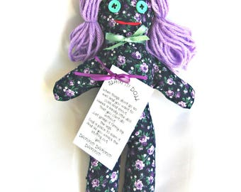 Stress Relief Doll DAMMIT or DANG IT Purple Flowers on Dark Blue Print Lilac Hair